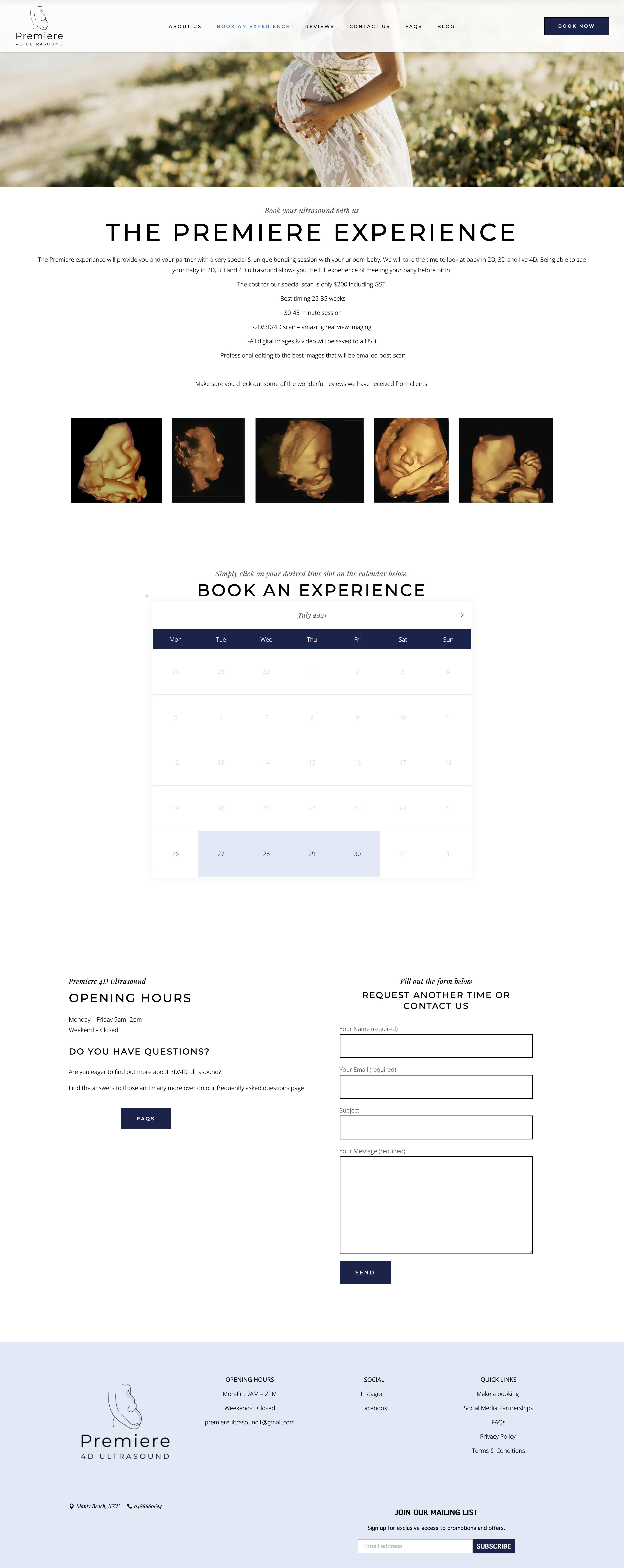 Booking – Premiere 4D Ultrasound